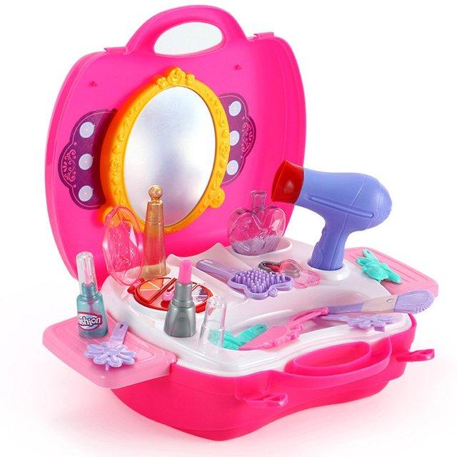 21 шт. девушка составляют набор игрушек притворяться, играть в реальной жизни косметичка Красота волос салон игрушка макияж для инструментов детей притворяться, играть в игрушки