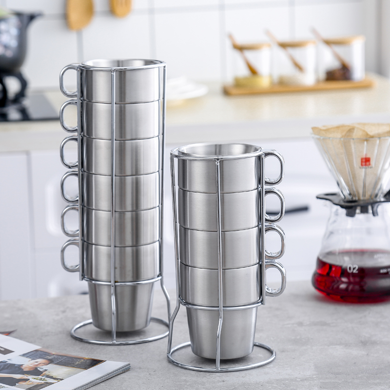 6 PCS Double Wall Stainless Steel Cups With Handgrip Coke Coffee Beer Cup Set With Frame