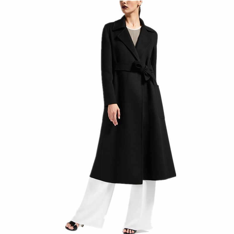 2019 Весна Зима Дамы Черный верблюжий серый кашемир вид Макси длинный дизайн накидка халат с поясом высокое качество Женское пальто