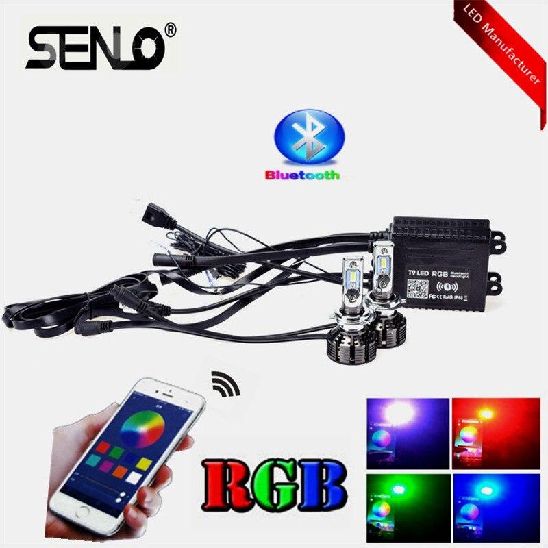 2019 H7 LED voiture phare ampoule nouveau RGB H8 H11 contrôle app Bluetooth H1 H3 HB3 hb4 voiture lampe à LED multicolore LED phare HID blanc