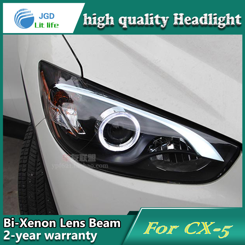 Car Styling Head Lamp case for Mazda CX-5 Headlights LED Headlight DRL Lens Double Beam Bi-Xenon HID car Accessories hireno headlamp for 2012 2016 mazda cx 5 headlight headlight assembly led drl angel lens double beam hid xenon 2pcs