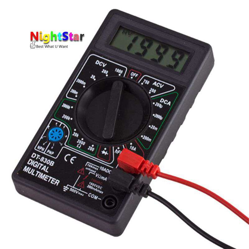 Digital Multimeter DC AC Voltmeter Ammeter Ohm Diode Tester Meter Check and HFE Overload Protection DT830B dt830b handheld digital multimeter electrician with a to send meter pen
