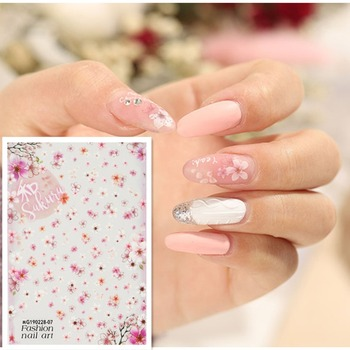 Newest WG2807 sakura design 3d nail sticker back glue nail decal Japan type DIY decorations for nail wraps newest haxx 49 50 51 3d nail art sticker back glue nail decal stamping japan type nail decoration tools