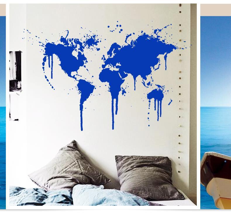2015 Art decor New Design Spray Paint World Map Wall decal XL