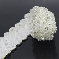1 Yard 4 5cm Sliver Beads Rhinestone Applique Sewing Accessories Crafts For Clothes Wedding Dress DIY