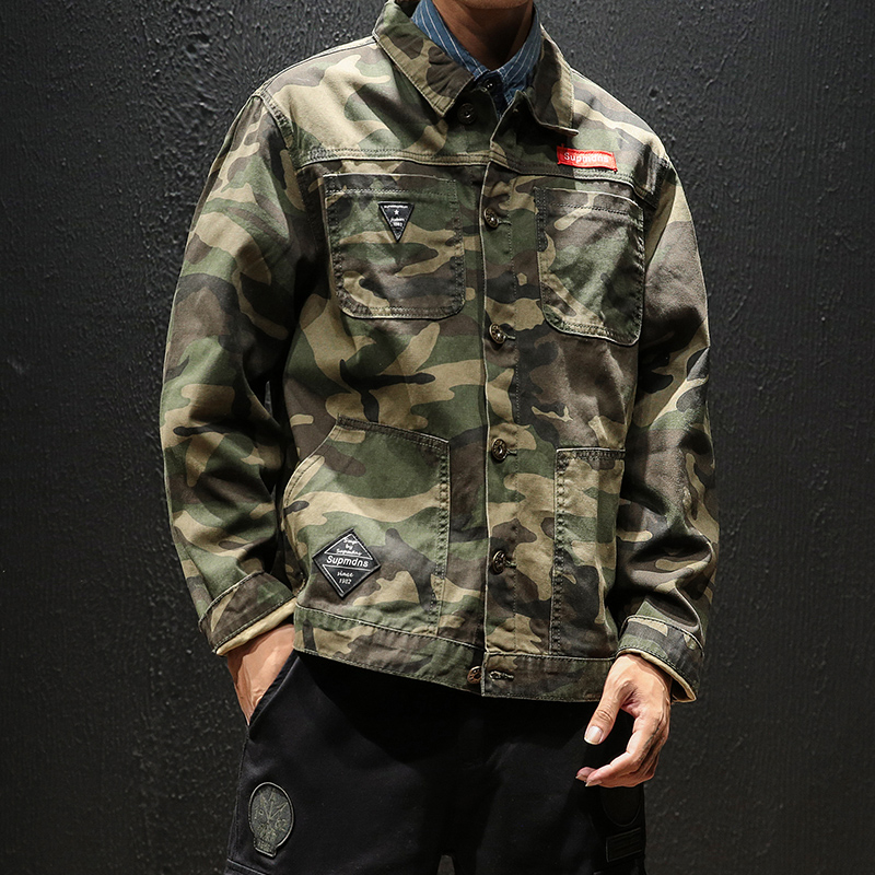 YASUGUOJI New 2019 spring fashion camouflage denim jacket men plus size military army men jacket erkek mont men jacket jeans