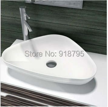 Triangular bathroom solid surface stone counter top Vessel sink fashionable Corian washbasin RS38206 557