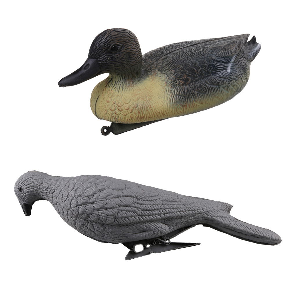 Outdoor Hunting Floating Male Duck Decoy with Floating Keel + 28cm Foam Pigeon Hunting Decoy