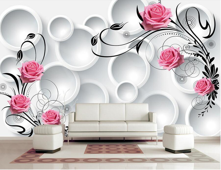 Custom modern wallpaper design 3d circle rose papel de for Design your living room online 3d