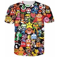 Arcade Collage T Shirt Pikachu Kirby Mario Chocobo Arcade Style Cartoon Character T Shirt Women Men