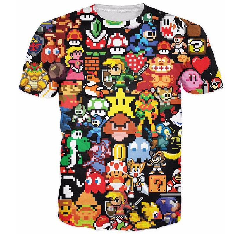 Cloudstyle 2018 3D Anime camiseta hombres Pikachu Kirby Mario Chocobo 3D impresión completa Arcade Collage Streetwear verano Tops camisetas