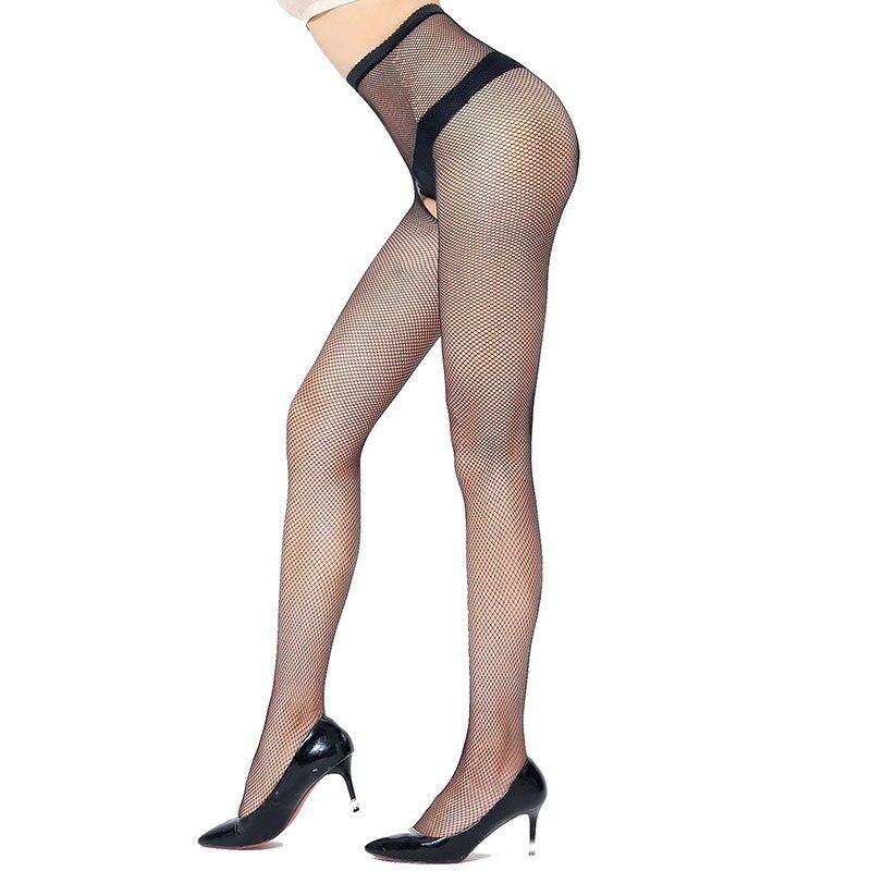 f8ae98b10 Medias abiertas Entrepierna Medias negras Mujeres sexy Pantalones de malla  erótica Pantimedias de cintura alta Fantaisie Calzas Crotchless ...