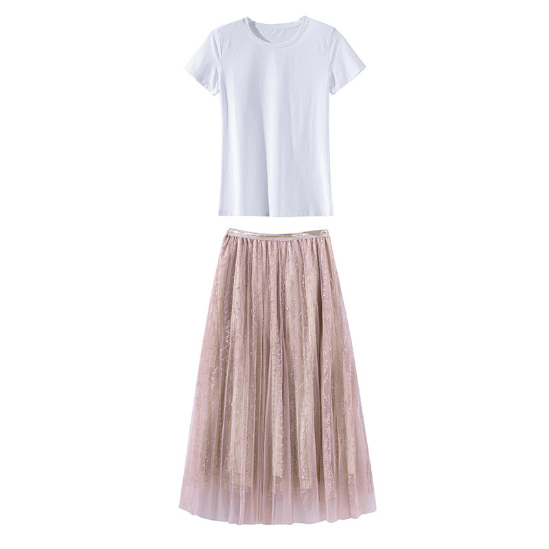 2018 Short In The Summer Of 931311 European 19 New Fashion Suits Female Cotton T + Net Yarn Drill Bead Skirt Outfit 4