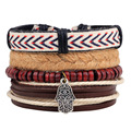 Ethnic Beaded Handmade Multilayer Wrap Woven Rope Charms Leather Hamsa Hand Women Bracelet Male Men Jewelry Accessories 4pcs/set