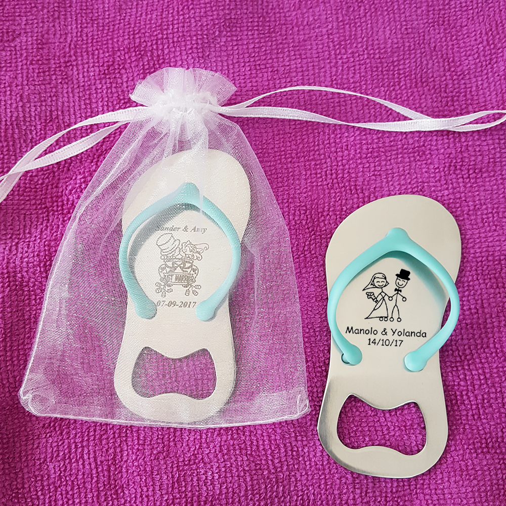 10x Personalized Blue Flip Flop Bottle Opener with Box Beach Wedding ...