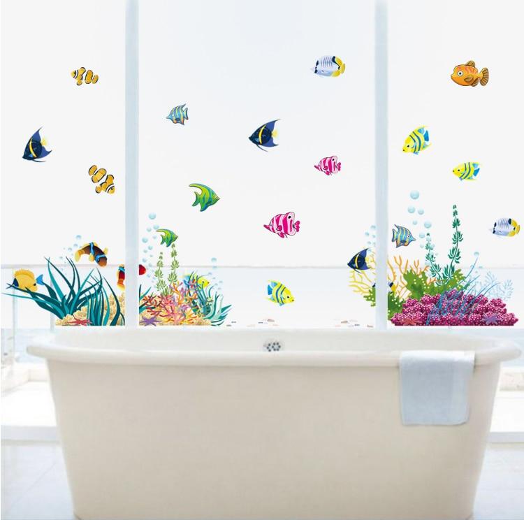 Diy Colorful Washroom Door Decorative Wall Sticker Sea World Fish Plant Kids Room Home Decal Baby Nursery Kitchen Glass Decor