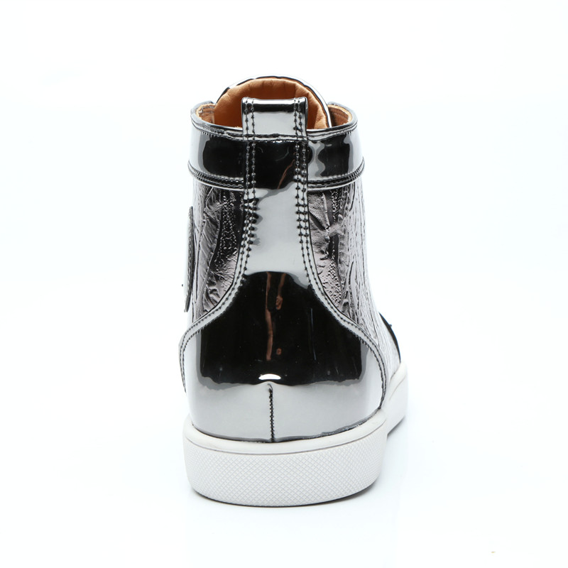 Qianruiti 2019 Men Silver Grey Spike Sneaker Lace up Rivet Flat Laser cut High  Top Curved Shoes Men Runway Chaussure Hommes-in Men s Casual Shoes from  Shoes ... e01b24ff9ab6