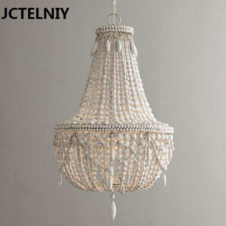 RH bois perle pendentif lustre américain pays bois lustre salon européen vintage lustre