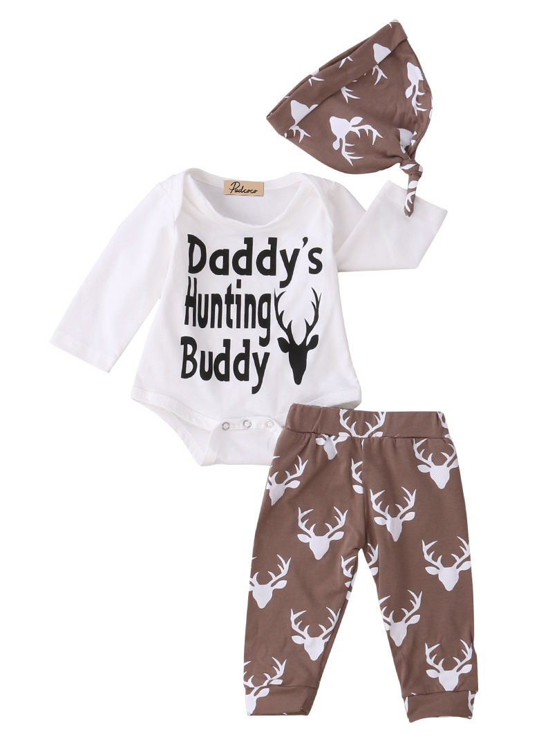 Christmas Kids Baby Boys Long Sleeve Letters Print Romper Tops+Deer Pants Legging Hat 3PCS Outfits Set Clothes Pajamas Set