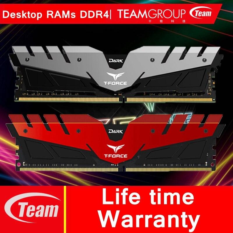 Team Group DARK series DDR4 ordinateur de bureau de mémoire 4G 8G 16G ordinateur RAMs surverrouillage module de mémoire 288 broches 2400/3000/3200 MHz RAMs