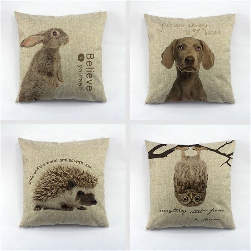 Fashion Animal Series The rabbit Dogs owl hedgehog Printed Cushion Cover Throw Pillow Case Cushion Cover for Home Sofa Car
