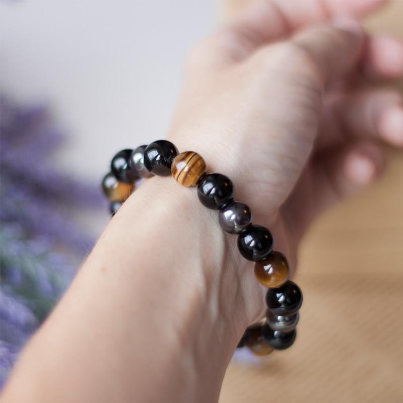 Men Bracelets Bangles Natural Stone Bracelets For Women 10MM Tiger Eye & Hematite & Black Obsidian Stone Bracelet Dropshipping