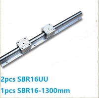 1pcs SBR16 1300mm linear rail guide support + 2pcs SBR16UU linear bearing blocks open type for cnc router parts