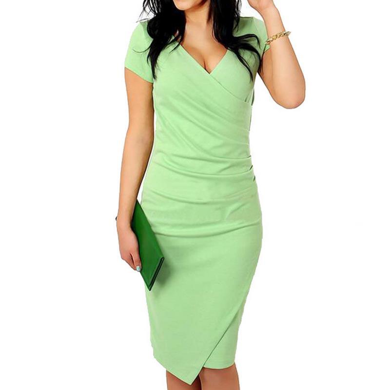 Robe à manches courtes vert bleu ciel femmes automne mode fentes col en v robe Sexy Split cheveux thé genou longueur robe Plue taille G28