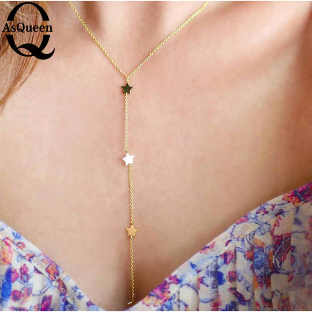 Wedding Women Vintage Charming Star Necklace <font><b>Sexy</b></font> Girls Long Chain Female Party Festival Fashion Statement Jewelry <font><b>Accessories</b></font> image