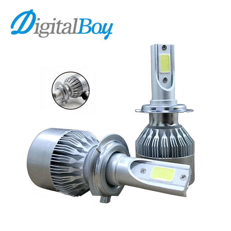 Digitalboy H1 H3 H8 H11 H7 9005 9006 COB LED Car Headlight Bulb Hi/Lo Beam H13 H4 9004 9007 72W 7800LM 6000K Auto Headlamp Light car headlight led h4 h7 h11 72w 8000lm 6000k led h1 h3 h13 9005 9006 9004 880 9007 auto cob bulb automobiles headlamp car light