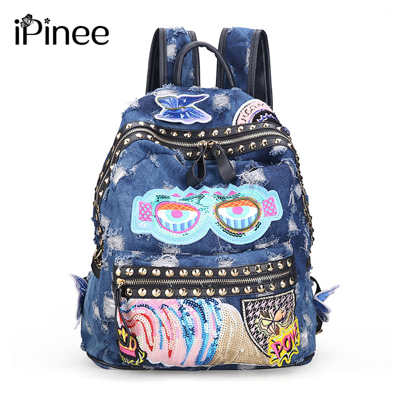Ipinee Women's Denim Backpacks School Bags For Women Teenager Girls Shoulder Bag Large Travel Rucksack Bolsas Mochilas Femininas