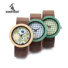 BOBO BIRD Women's Colorful Bamboo Dial Japan Quartz CbD18-4-6 Leather Strap Women Fashion Wooden Watch for Unisex in Gift Box