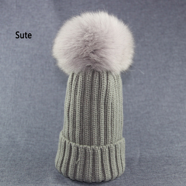 Sute real Fox fufur pom poms knitted hat ball beanies winter hat for women  girl   764e7ecb795b