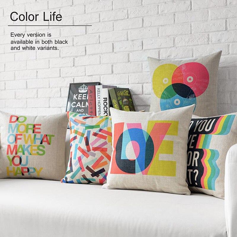 Nordic Abstract Geometric Pillow Cushions Lumbar Waist Pillow Thick Linen Pillowcase Sofa Cushion Home Decorative Pillows