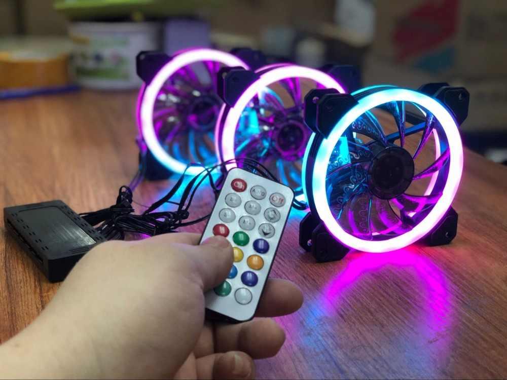 Aigo DR12 وحدة معالجة خارجية للحاسوب PC التبريد مروحة ضوء بار RGB ضبط LED 120 مللي متر هادئة + IR عن بعد برودة مروحة led أضواء مصباح شرائط