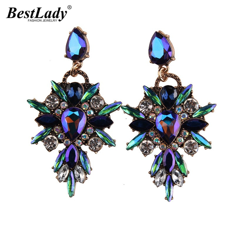 Best lady New Colorful Flower Big Brand Design Luxury Starburst Pendant Crystal Stud Earrings Gem Statement Earrings Jewelry