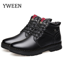 YWEEN Men's Leather Snow Boots Waterproof Ankle Boots High Top Winter Shoes with Fur Lining