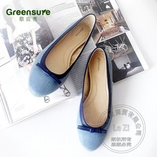Ballet Sneakers Cool Gentle Leather-based Slip On Sneakers For Ladies Sapphire Blue Sneakers Lady Bow Romantic Cotton Cotton Material Pure Shade