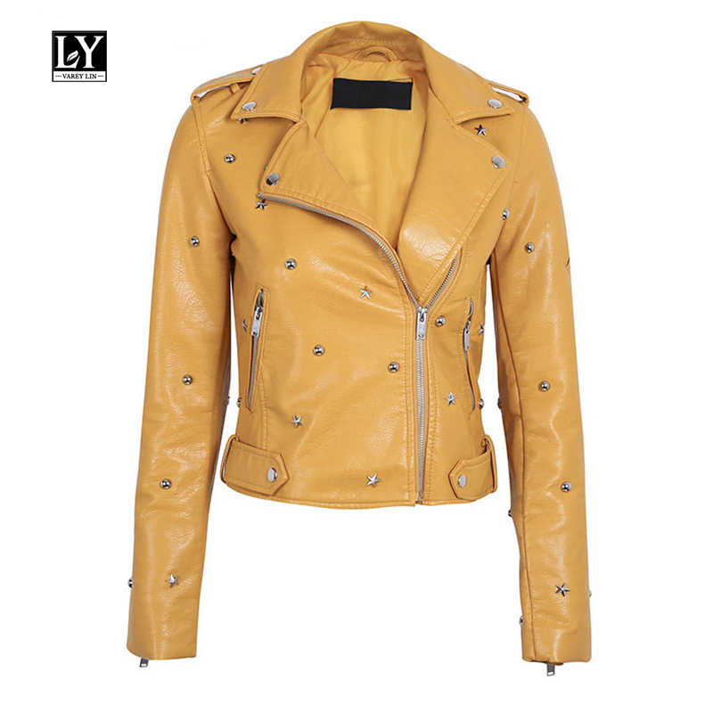 Ly Varey Lin Women Faux Soft   Leather   Jacket Rivet Pu Motorcycle Epaulet Zipper Female   Leather   Black Yellow Pink Punk Outerwear