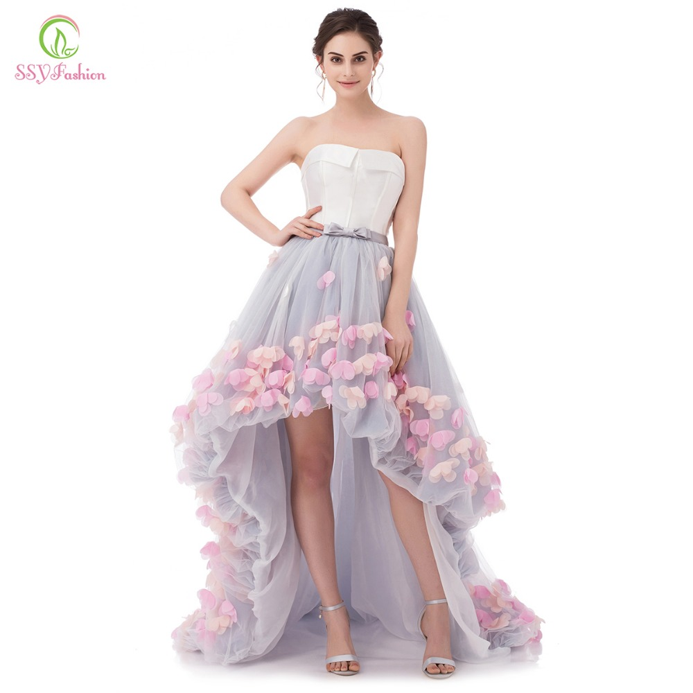 SSYFashion Sexy Strapless Sleeveless Short Front Long Back Lace Flower Evening Dress Bride Banquet Formal Party