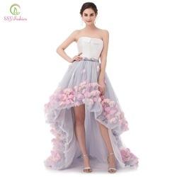 SSYFashion сексуальное платье без бретелек без рукавов с коротким передом и длинной спинкой, кружевное вечернее платье с цветочным рисунком, веч...