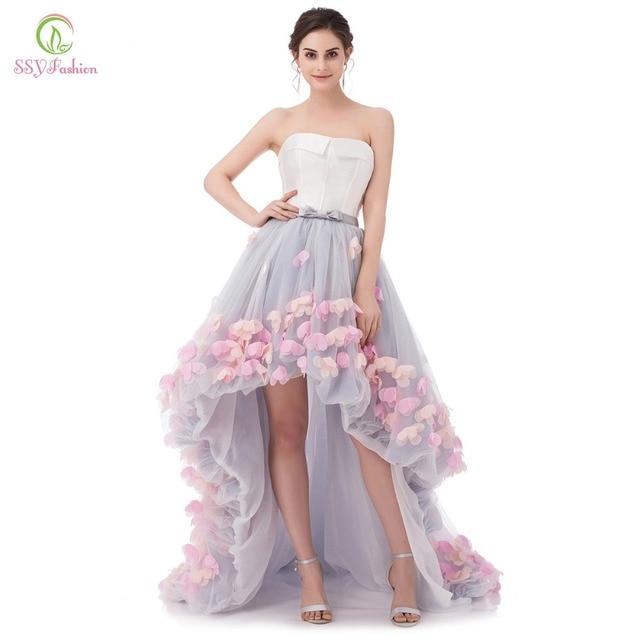 Ssyfashion Sexy бретелек рукавов короткое спереди и длинное сзади кружевное платье с цветочным рисунком вечернее платье невесты для торжеств официальная Вечеринка Платья Vestidos