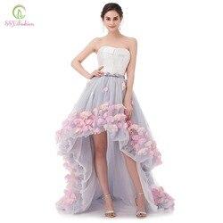 Ssyfashion sexy strapless sem mangas curto frente longa volta laço vestido de noite flor noiva banquete formal vestidos festa