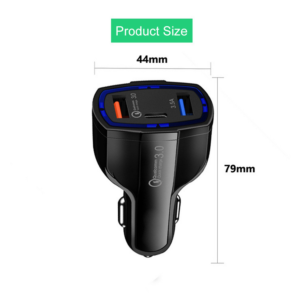 Car Cigarette Lighter Dua USB Quick Charge 3 0 2 0 Mobile Phone Charger Type C Auto Charger for Phone Tablet Cigarette Lighter in Cigarette Lighter from Automobiles Motorcycles