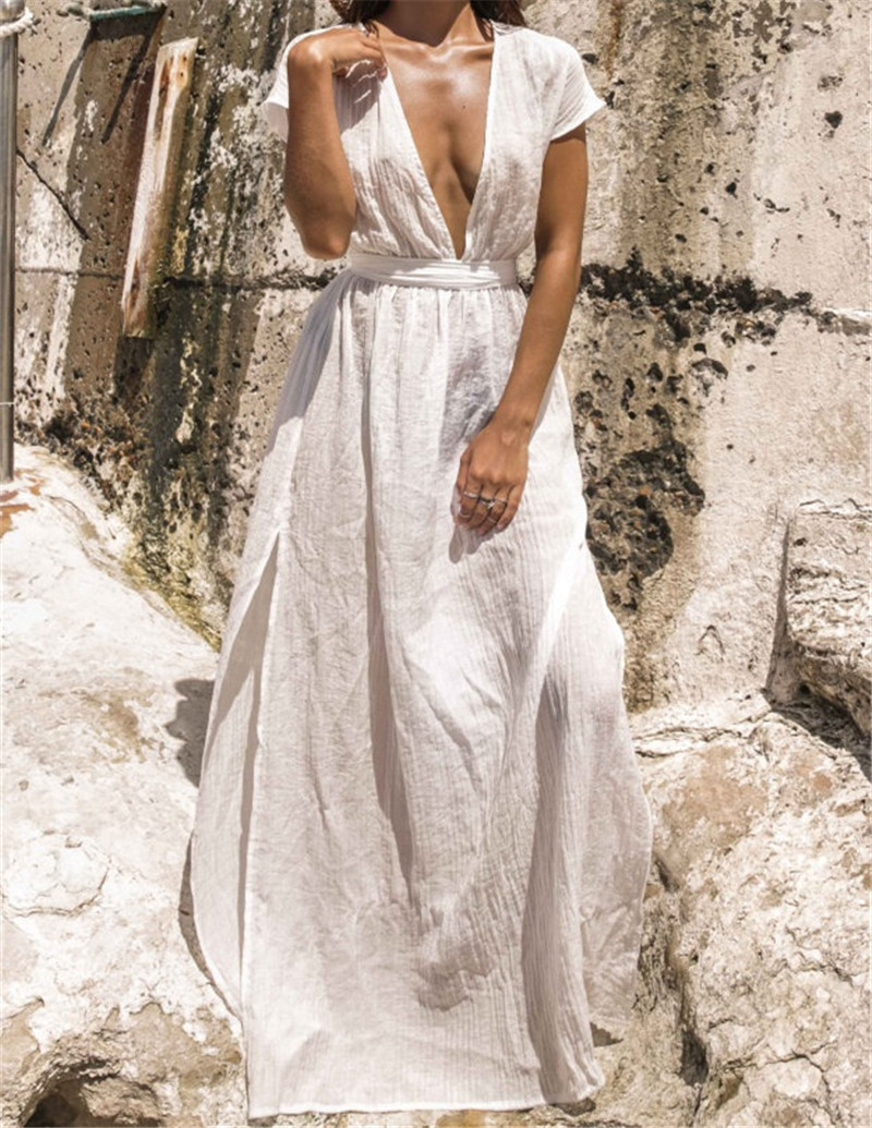 <font><b>2019</b></font> Beach Dress Long Beach Cover up <font><b>Vestido</b></font> <font><b>largo</b></font> <font><b>Verano</b></font> <font><b>Mujer</b></font> Bathing suit Cover ups Beach Sarong Robe de Plage Tunic image