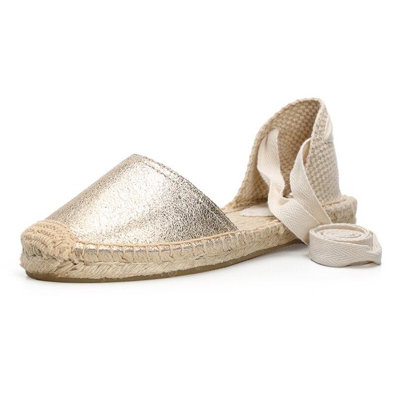 2019 women leather sandals falt espadrilles sandal ankle strap sandals
