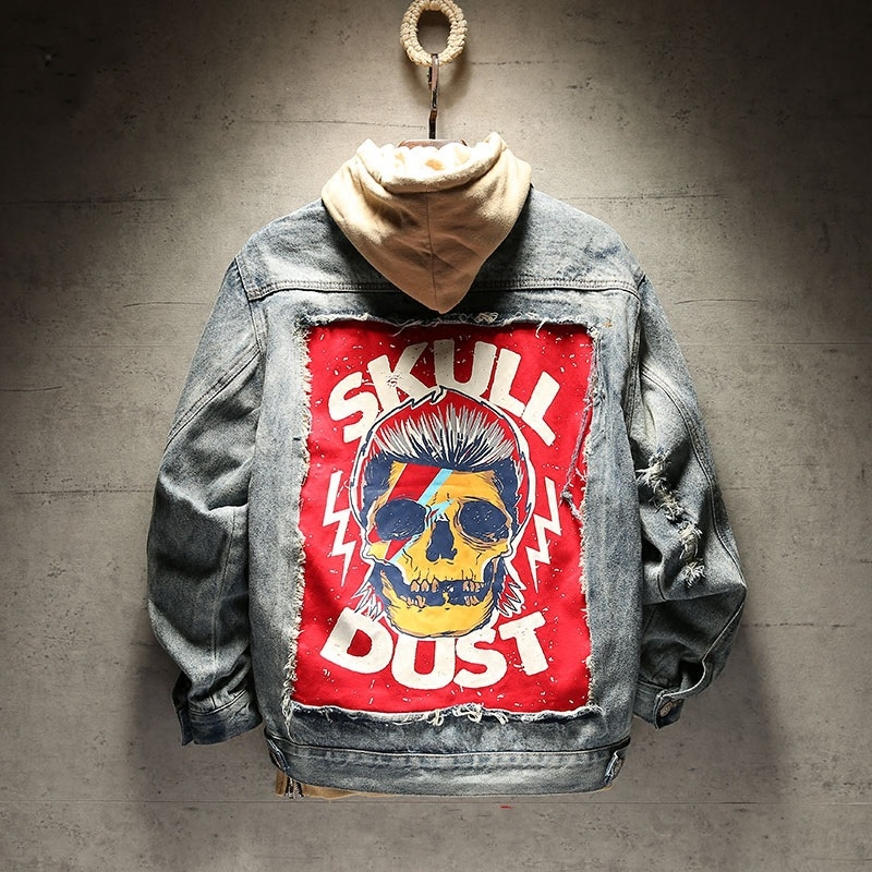 2 Colours Frayed Rock Vintage black blue denim jacket men punk hole streetwear ruched Washed Skull patchwork Moto biker