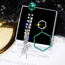 DREJEW Asymmetrical Green Square Rhinestone Statement Earrings Long Tassel Crystal Drop for Women Fashion Jewelry E935