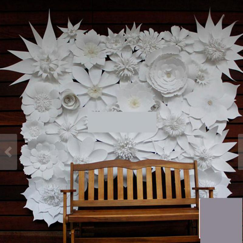 30pcs Mix Size White Giant Paper Flowers For Wedding