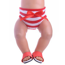 Fleta New Dolls Accessories High Quality 43cm Doll Red and White Striped Underpants (Only underpants) n1487(China)